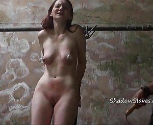 Filthy dungeon whipping and private bdsm of skinny amateur slave in harsh hellpa