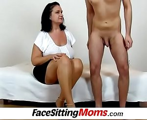 Chubby big juggs housewife Danielle is facesitting a skinny dude