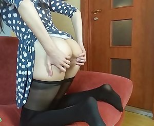 Solo female masturbation in dress and pantyhose