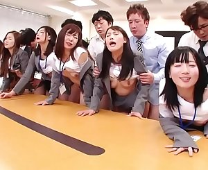 JAV fat group hook-up office party in HD with Subtitles