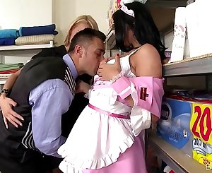 Busty Maid Kira Queen & Hotel Guest Chelsey Lanette Fucked In Storage