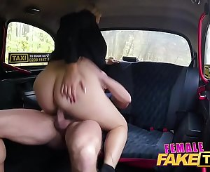 Female Fake Taxi Busty curvy squirting blonde driver creampied by passenger