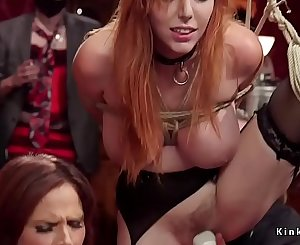Huge tits redhead and blonde at Bondage & Discipline orgy