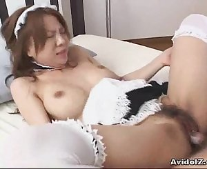 Japanes honey fucked clothed as a maid Uncensored