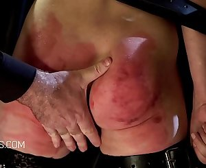 Blonde slave battered in